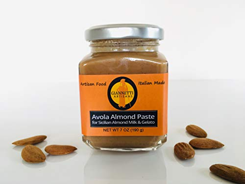 Giannetti Artisans 100% Pure, Non-Sugared, Unpeeled Sicilian Almond (AVOLA) Paste for Gelato & Granita - 7 oz jarred - Imported