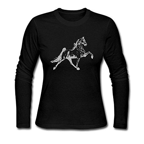 O93URi@LT Women's Plain Long Sleeve Crew Neck Cotton Tennessee Walking Horse-3 Tee for Women