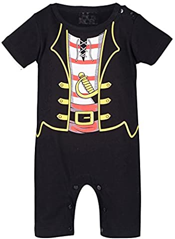 Mombebe Baby Boys' Pirate Costume Romper (12-18 Months, Black)