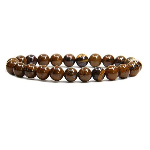 Handmade Tiger Iron (Natural Yellow Tiger Iron Handmade Gemstone 8mm Round Beads Elastic Bracelet 7