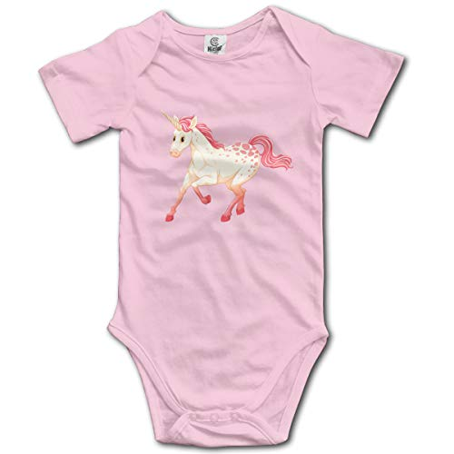 Toddler Newborn Baby T-Shirt Clothes Funny Printed Short-Sleeve Cotton Bodysuit One Piece -Pink Unicorn Fairy Illustration Infant Rompers Jumpsuit 0-2T