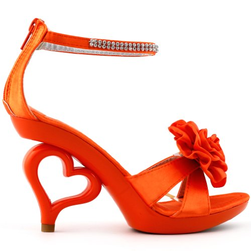 Show Story Strappy Ankle Strap Bride Wedding Dancing Heart Heels Sandals,SM33101 Orange