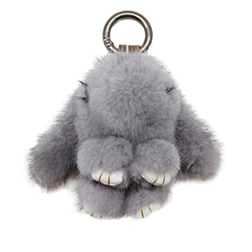 YISEVEN Easter Egg Stuffed Rabbit Keychain Toy - Soft Fuzzy Mini Plush Bunny Key Chain-Cute Fluffy Bunnies Floppy Furry Animal Basket Stuffers Gift for Girl Women Bag Charm Car Pendant- Gray Sapphire