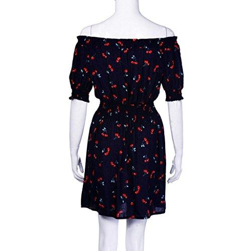 Vestido Para Mujer, Ouneed Las mujeres de verano de cereza Vestido de fiesta de la playa vestido mini Azul oscuro