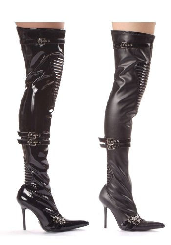 Ellie Shoes Womens 408-nadia, 4 Hak Dij Hoge Laarzen Met Kniestuk Zwart Pu