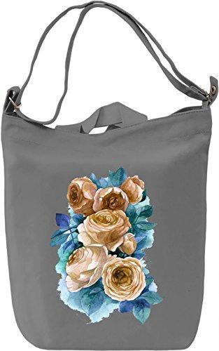 Flowers Borsa Giornaliera Canvas Canvas Day Bag  100% Premium Cotton Canvas  DTG Printing 