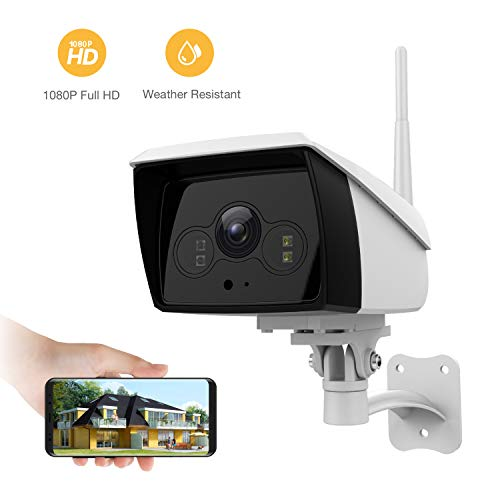 famisafe Wireless Outdoor Camera, IP Camera HD 2MP Floodlight 2.4G Wi-Fi with 2-Way Audio, Motion Detection, Night Vision, Remote Monitor for Baby Pet Elder, Work with Alexa (Android/iOS)