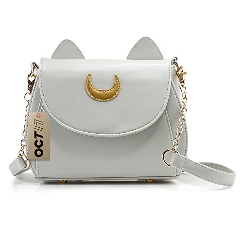 - Oct17 Moon Luna Design Purse Kitty Cat satchel shoulder bag Designer Women Handbag Tote PU Leather Girls Teens School Sailer Style (Gray)
