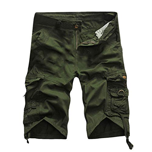 Men Pure Color Work Shorts Cargo Shorts Pant Outdoors Pocket Beach Cargo Pants Capri Cropped Pants by Lowprofile Army Green
