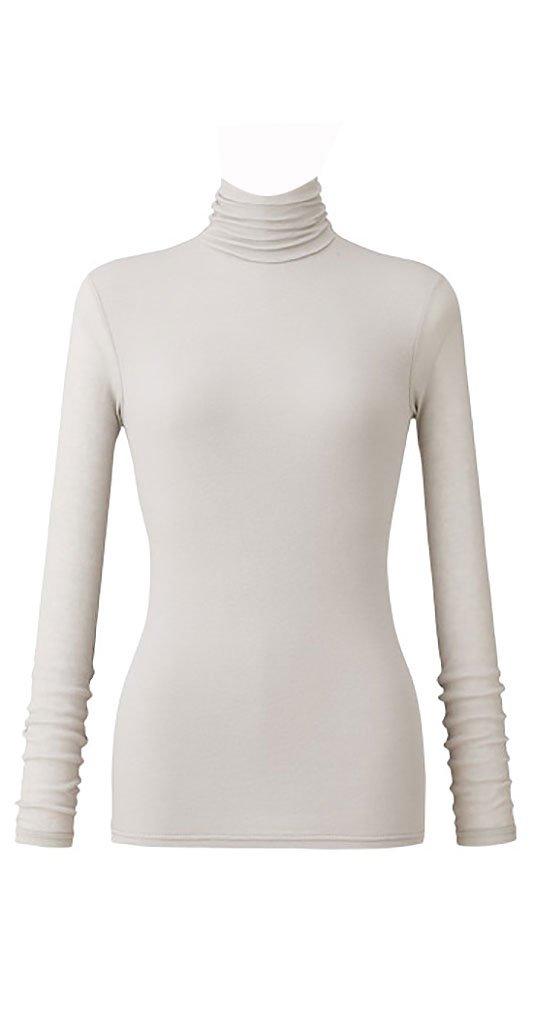 天使の綿シフォン レディースハイネック長袖 B074KQL72M L|プラチナ プラチナ L