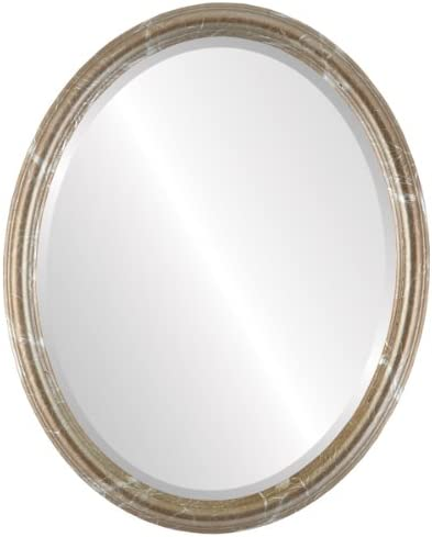 Oval Beveled Wall Mirror for Home Decor – Saratoga Style – Champagne Silver – 22×26 Outside Dimensions
