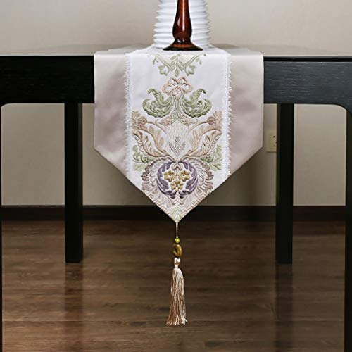Beige Table Runners Home - Spinning Embroidery Table Runner Tea Table Runner, Three-Dimensional Embroidery, 32×200cm (Size : 32×200cm) ()