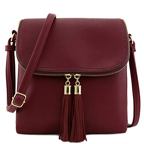 Flap Top Double Compartment Crossbody Bag with Tassel Accent (Wine)