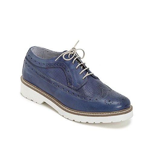 MARINA SEVAL by Scarpe&Scarpe - Zapatos acordonados con micro calado y punta en cola de golondrina, Zapatos Planos, de Piel Azul