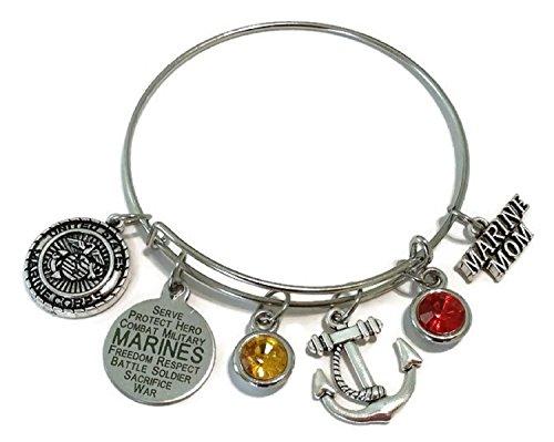 - Kit's Kiss Marine Mom Bracelet, USMC Mom Bracelet, USMC Bracelet, USMC Jewelry, Marine Bracelet, Marine Mom Jewelry, Anchor Charm, Marine Charm, Marine Mom Bangle Bracelet