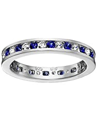 Sterling Silver Stackable Alternating Created Blue and White Sapphire Band Eternity Ring