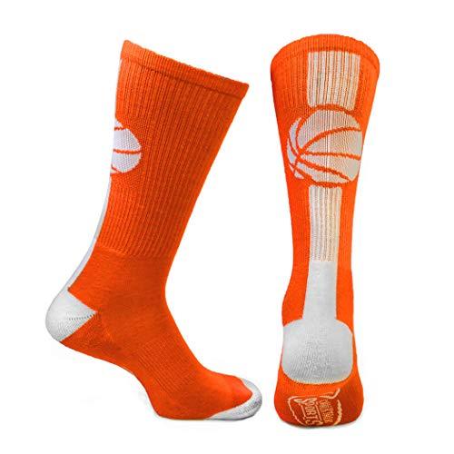 ChalkTalkSPORTS Athletic Half Cushioned Crew Socks | Mid Calf | Basketball Superelite | Orange/White