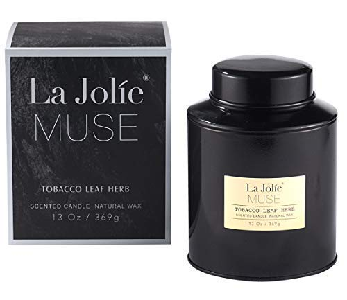 LA JOLIE MUSE Tobacco Soy Scented Candle - 13Oz Natural Wax Sweet Home Fragrance in Large Tin, Tobacco Leaf Herb