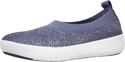 FitFlop Women's Uberknit Slip-On Ballerina Indian Blue/Powder Blue 8 M US M (B)