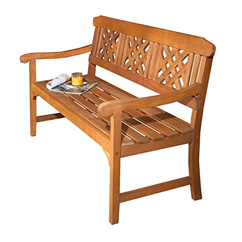 Robert Dyas 3 Seater Wooden Garden Bench, Quality All Weather Eucalyptus Hardwood with Brass-Plated Fittings