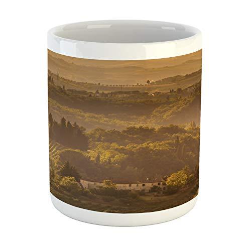 Lunarable Tuscan Mug, Environment Grass European Sunset Outdoor Peace Scenery, Printed Ceramic Coffee Mug Water Tea Drinks Cup, Taupe Dark Khaki and Pale Earth Yellow