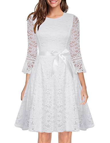 iClosam Womens 3/4 Bell Sleeve Contrast Lace A-line Swing Party Dress with Belt