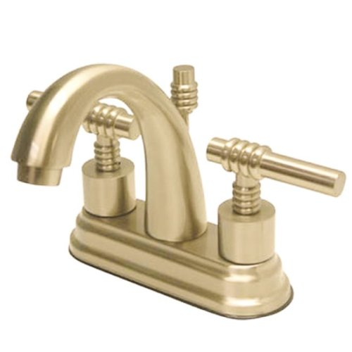 - Kingston Brass KS8612ML English Country 4-Inch Deck Mount Centerset Lavatory Faucet with Brass Lever Handle, Polished Brass