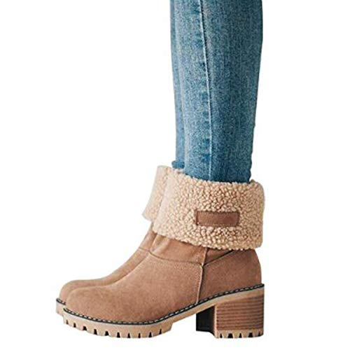 - Dear Time Women Mid-Calf Snow Boots Low Stacked Heel Winter Booties Platform Shoes Khaki US 9