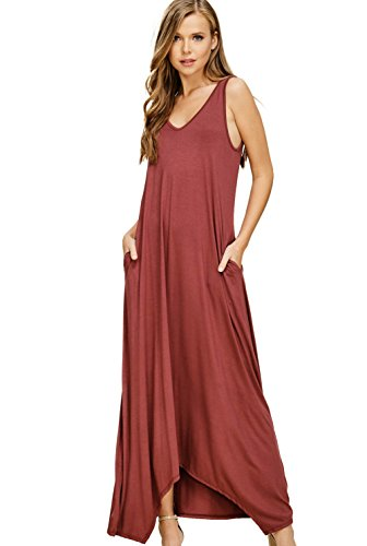 Top Long V Casual Maxi Tank Annabelle Brick Dresses Sleeveless Pockets Women's with Neck nHfqE0Yw