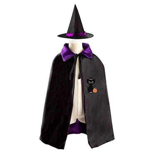 Quiet Cat Halloween Costume Masquerade Hood Child Witch Cloak Cape and (Quiet Cosplay Costume)