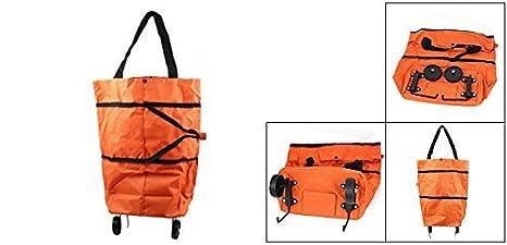 Amazon.com : eDealMax Tela de compras bolso de la carretilla de reciclaje Naranja w Ruedas : Sports & Outdoors