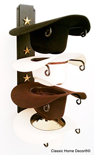 American Made Cowboy Hat Rack Black with Gold (Western Hat Rack)