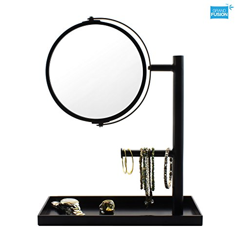 Black Swivel Mirror (Magnification Mirror & Jewelry Organizer - Black, With 5X & 1X Magnification Swivel Mirror for Bath Vanity)