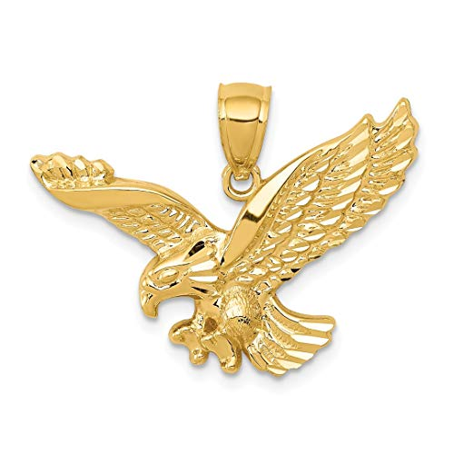 14k Yellow Gold Textured Eagle Pendant Charm Necklace Bird Man Fine Jewelry Gift For Dad Mens For Him ()