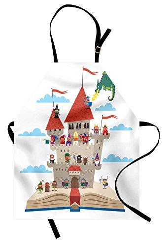 Lunarable Medieval Apron, Fairy Tale Story Book Castle King Queen Princess Dragon Witch Knight Wizard Viking, Unisex Kitchen Bib Apron with Adjustable Neck for Cooking Baking Gardening, Multicolor