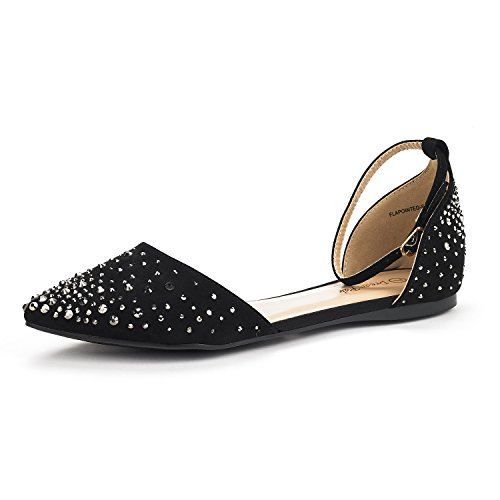 DREAM PAIRS Womens FLAPOINTED-New DOrsay Ballet Flats Shoes Shine-black L9VG1