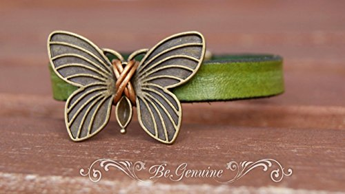 Antique Butterfly Bracelet - Green Leather Bracelet with Bronze Butterfly and Strong Hypoallergenic Magnetic Clasp Rustic Wedding Favor Bohemian Jewelry