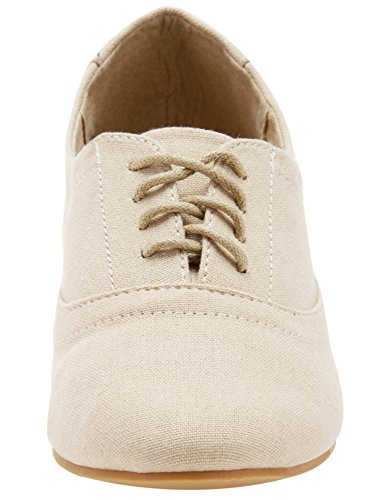 oodji Ultra Mujer Zapatos Básicos de Tela Beige (3500N)