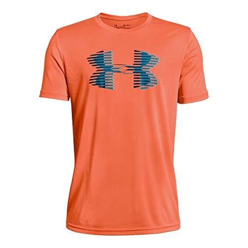 Under Armour Boys' Tech Big Logo Solid T-Shirt, Magma Orange (889)/Techno Teal, Youth ()