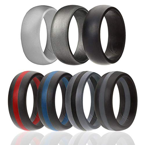 ROQ Silicone Wedding Ring for Men, 7 Pack Silicone Rubber Band - Silver, Black, Black with Red, Blue,Grey Stripe, Silver - Size 10