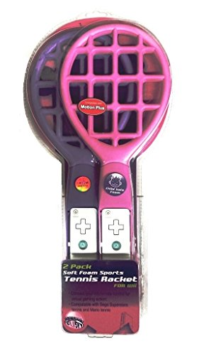 Wii Sports 2 Pack Pink & Purple Soft Foam Tennis Racket (compatible with Motion Plus) ()