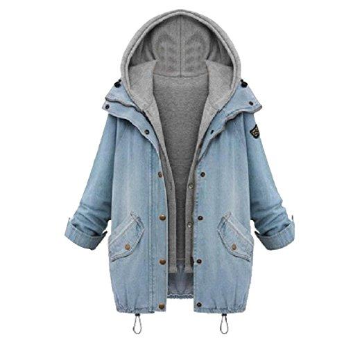 幾分苦しむアセンブリKankanluck プラスサイズ婦人用フードベストカジュアルデニムツーピースコートジャケット