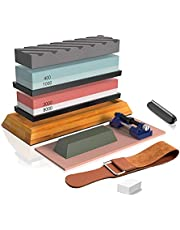 BRITOR Knife Sharpening Stone Includes 4 Side Grit 400/1000 3000/8000 Whetstone, Non-Slip Bamboo Base, Angle Guide,Polishing Compound,Leather Strop, Flattening Stone