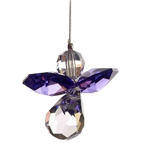 Emblems-Gifts Hanging Crystal Guardian Angel Birthstone Suncatcher - Made Using Swarovski Crystals - FEBRUARY - AMETHYST