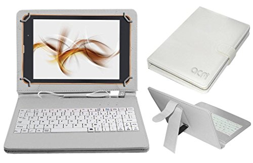 Acm USB Keyboard Case Compatible with Iball Slide Nimble 4gf Tablet Cover StandStudy Gaming Direct Plug  amp; Play   White