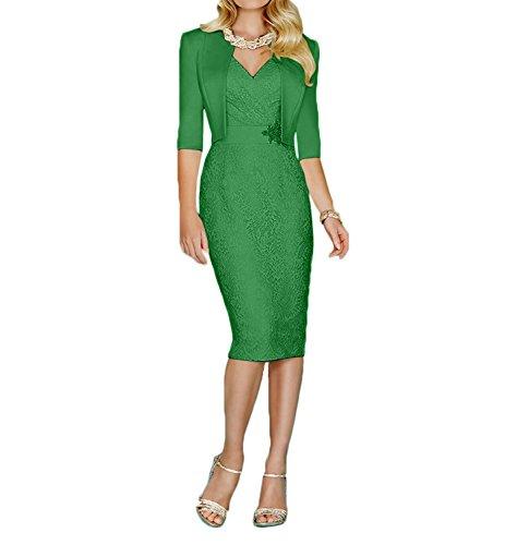 Charmant Partykleider Elegant Knielang Abendkleider Spitze mit Bolero Langarm Brautmutterkleider Grün Damen rrxWna4