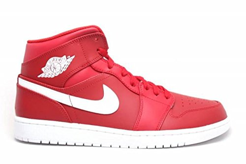 JORDAN MENS AIR JORDAN 1 MID GYM RED WHITE WHITE SIZE 11