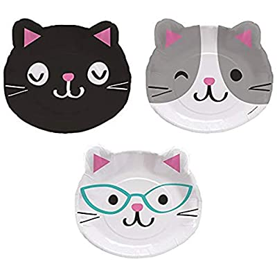 "Creative Converting 328704 Purr-FECT Paper Dinner Plates Party Supplies, 8"" x 9"", Multicolor: Toys & Games"