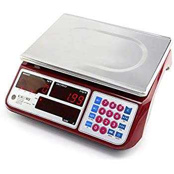 Camry Digital Commercial Price Scale 66lb / 30kg for Food Meat Fruit Produce with Dual Bright Red LED Display 16 Inches Platform Rechargeable Battery ...