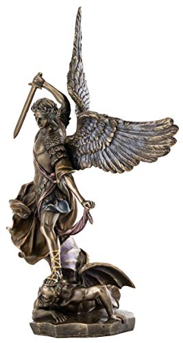Top Collection Archangel St. Michael Statue – Michael Archangel of Heaven Defeating Lucifer in Premium Cold-Cast Bronze – 10.5-Inch Collectible Angel Figurine